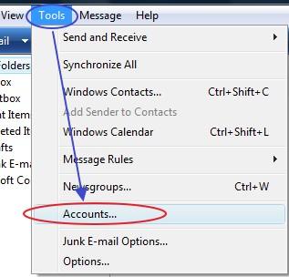 การเข้าสู่การตั้งค่า Windows Mail