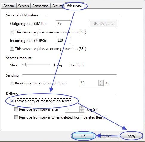 การตั้งค่าเพิ่มเติมเพื่อเก็บอีเมล์ไว้บน server ใน Windows Mail