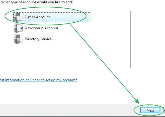 การเลือกประเภทการตั้งค่า Windows Mail