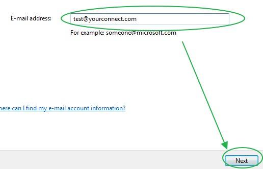การใส่ค่าบริเวณ E-mail address ใน Windows Mail