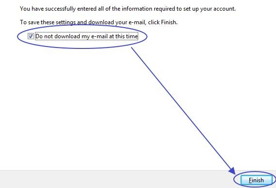 การเสร็จการตั้งค่าบริเวณ user ใน Windows Mail