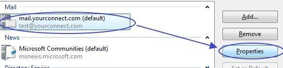 การเข้าสู่การตั้งค่าเพิ่มเติมเพื่อเก็บอีเมล์ไว้บน server ใน Windows Mail