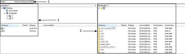 แสดงรายละเอียดเมื่อล็อคอินเข้าใช้งาน FileZilla