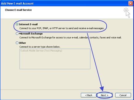 การเลือกประเภทอีเมล์ที่ใช้ใน Outlook 2007