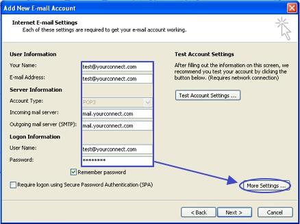 การตั้งค่าอีเมล์ที่ใช้ใน Outlook 2007