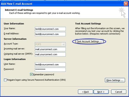 การทดสอบการตั้งค่าใน Outlook 2007
