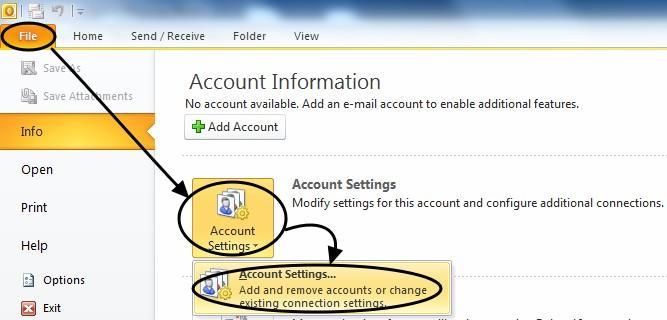 การตั้งค่า Outlook 2010-1