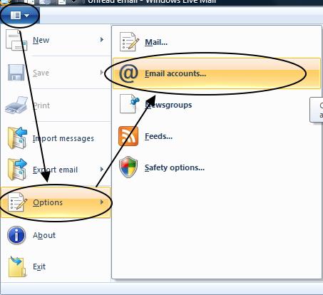 การเข้าเมนูตั้งค่า Windows Live Mail