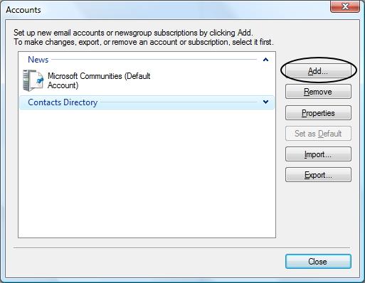 เข้าสู่การตั้งค่า Mail Accounts ใหม่ใน Windows Live Mail