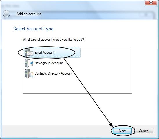 เริ่มการตั้งค่า Mail Accounts ใหม่ใน Windows Live Mail
