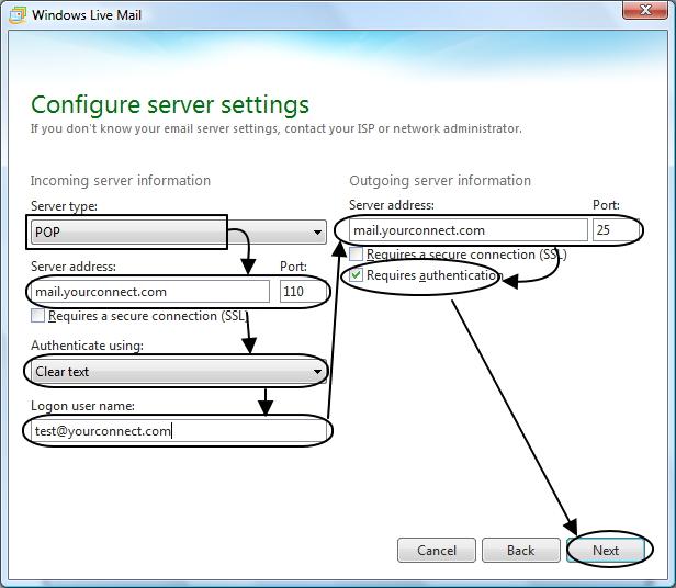 การตั้งค่ารายละเอียดในส่วน Server ของ Windows live mail