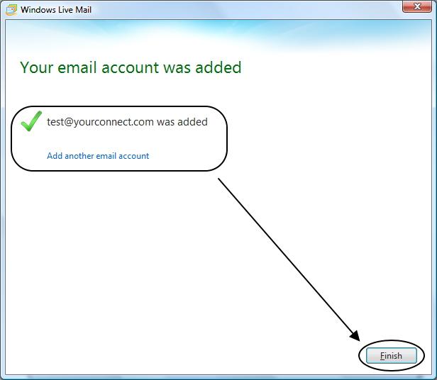 จบการตั้งค่า Windows Live Mail